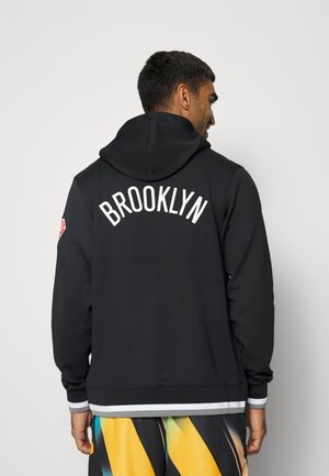 NBA BROOKLYN NETS SHOWTIME FULL ZIP HOODIE - Squadra - black/white/dark steel grey/white
