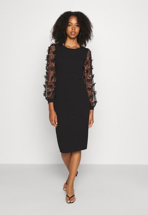 PUFF SLEEVE MIDI DRESS - Vestido de cóctel - black