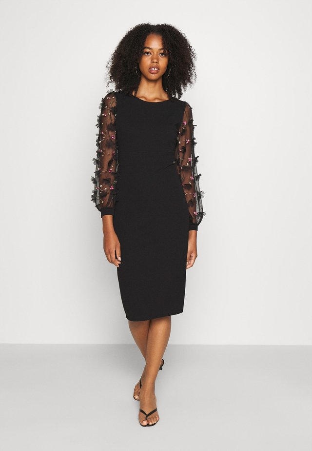 PUFF SLEEVE MIDI DRESS - Cocktail dress / Party dress - black