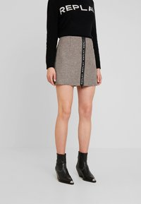 Replay - SKIRT - A-line skirt - ecru/dark brown - 0