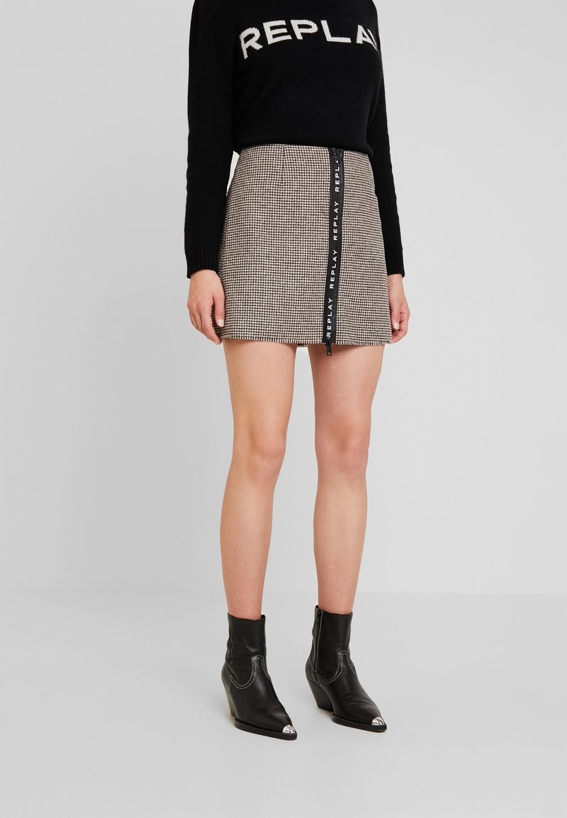 Replay - SKIRT - A-line skirt - ecru/dark brown
