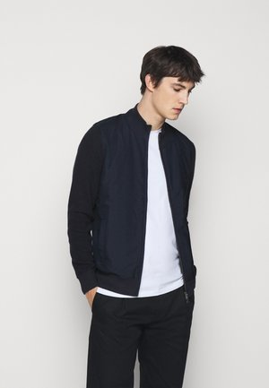 FABRIC FRONT ZIP - Kardigan - navy