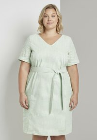 MY TRUE ME TOM TAILOR - EASY SLUB STRIPE DRESS - Day dress - light green white stripe - 0