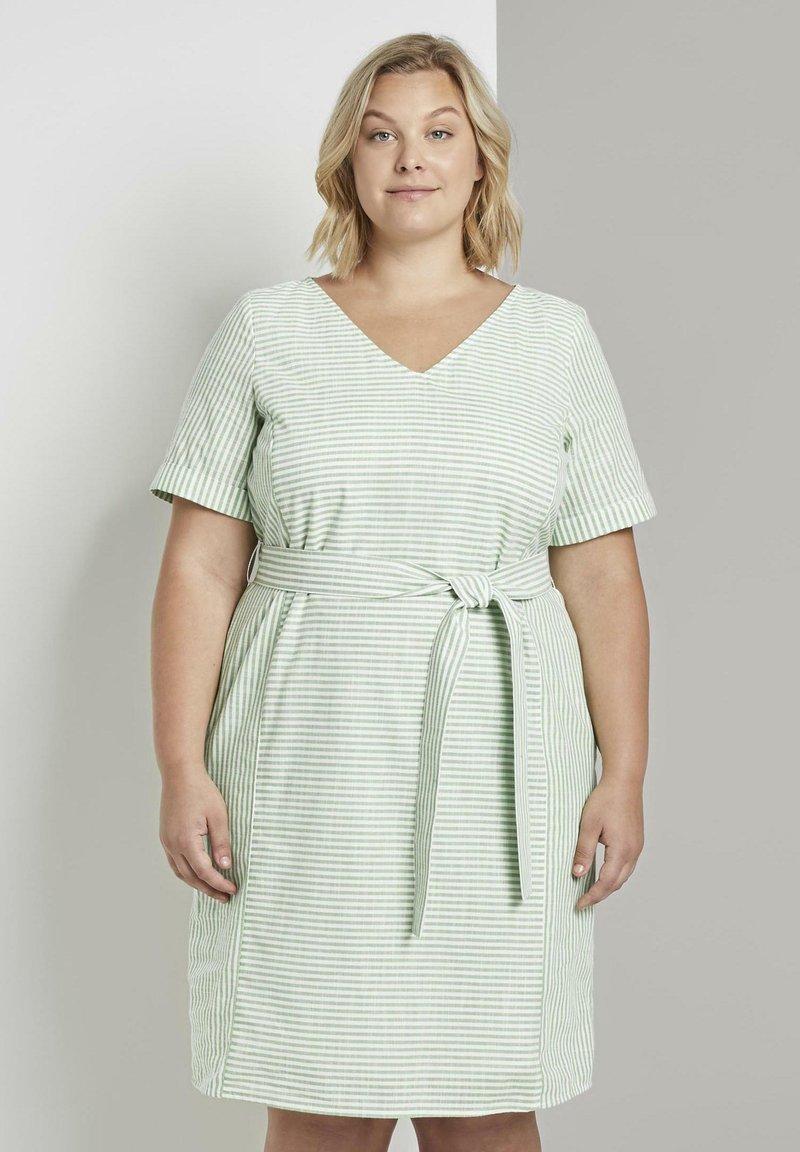 MY TRUE ME TOM TAILOR - EASY SLUB STRIPE DRESS - Day dress - light green white stripe