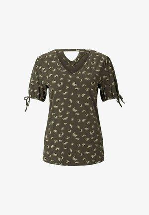 Print T-shirt - khaki small floral design