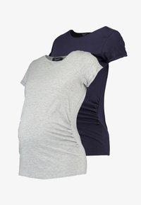 New Look Maternity - SHORT SLEEVE 2 PACK - Jednoduché triko - navy/light grey marl - 3
