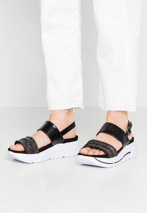 RAJA - Platform sandals - black/metallics