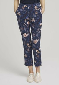TOM TAILOR - LOOSE FIT - Trousers - navy floral design - 0