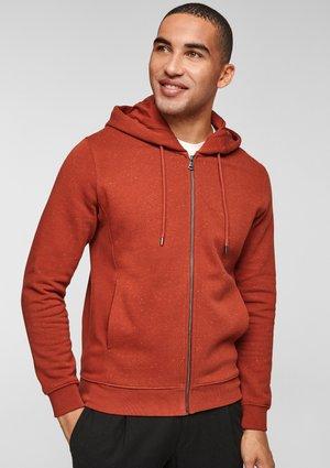 À EMPIÈCEMENTS CÔTELÉS - Zip-up sweatshirt - dark orange dots