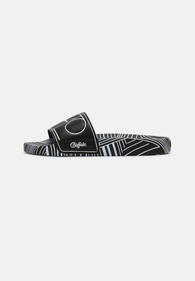 RONA - Sandały kąpielowe - black/white graphic