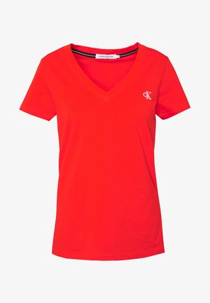 EMBROIDERY V NECK - Basic T-shirt - fiery red