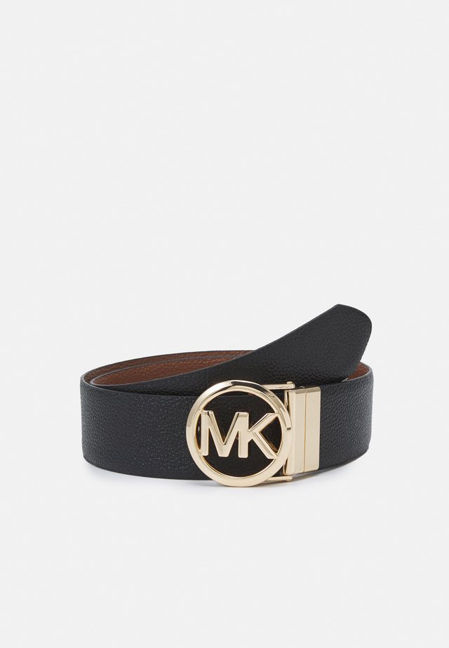 REVERSIBLE BELT - Cintura - black/luggage/gold-coloured
