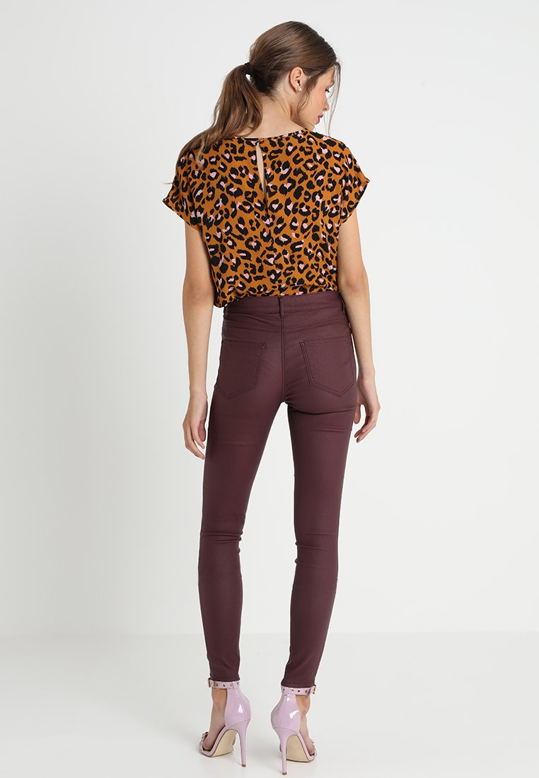 Vila VICOMMIT COATED NEW PANT - Jeans Skinny Fit - winetasting - Women's Clothing wnNuY
