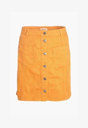 MIT KNÖPFEN - Denim skirt - mustard yellow