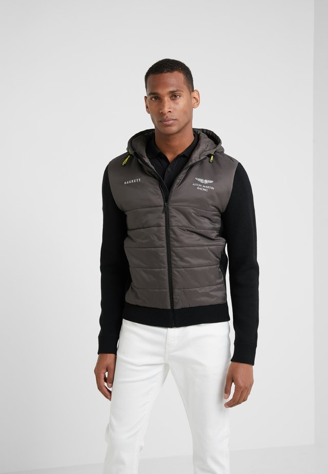 QUILTED FRONT HOODIE - Giacca leggera - khaki/black