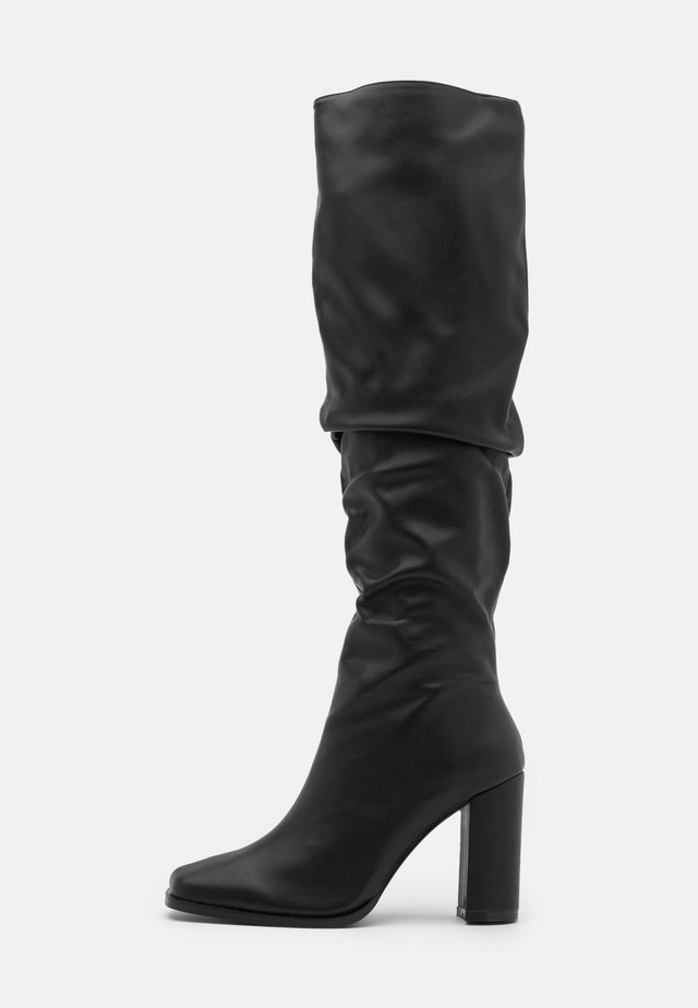 SLOUCHY SHAFT SQUARED TOE BOOTS - High heeled boots - black