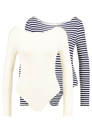 LONG SLEEVE LOW BACK 2 PACK - Long sleeved top - navy blue/white/cream