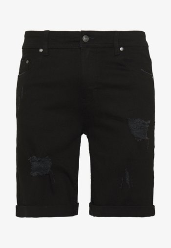 Denim shorts - black destroy