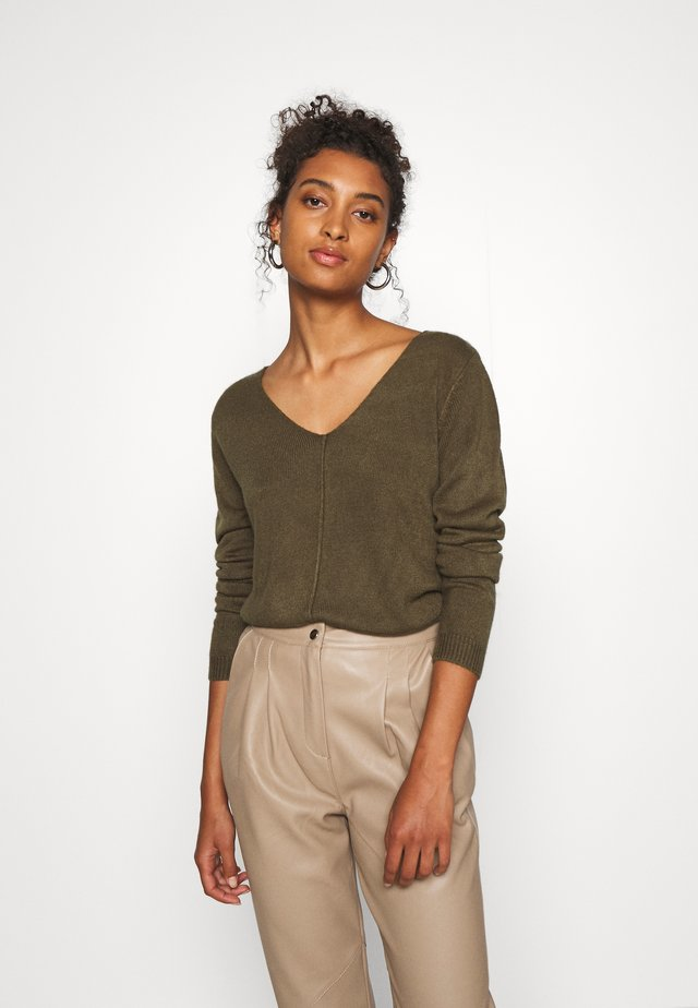 BYMALEA V NECK JUMPER - Pullover - olive night
