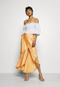 Who What Wear - ASYMMETRIC SLIP SKIRT - Maxi skirt - peach - 1