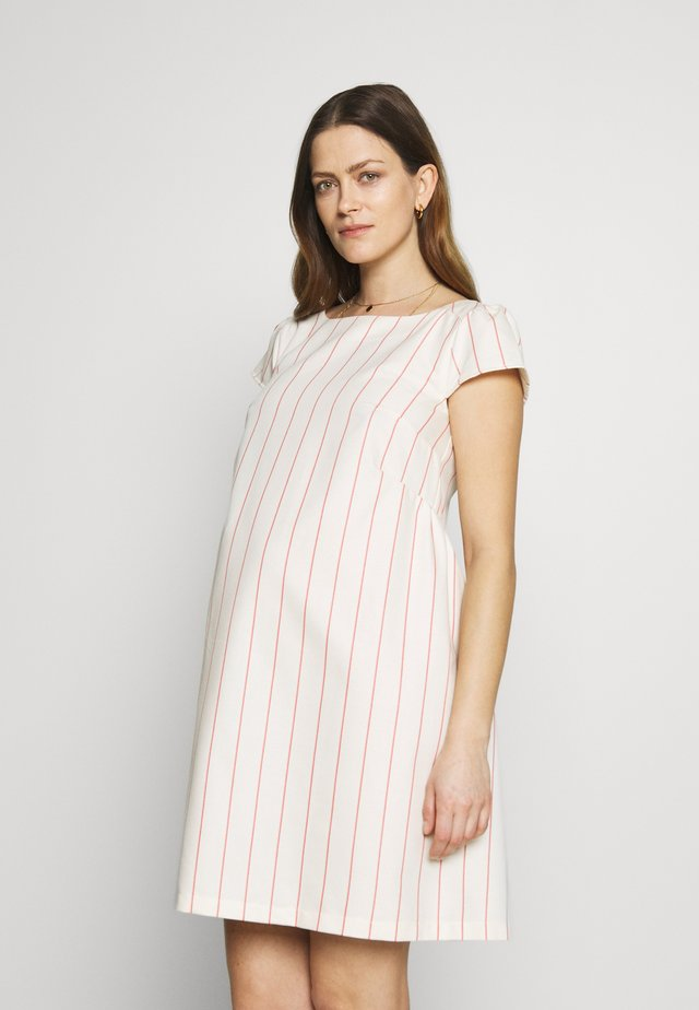 LOW BACK DRESS WITH STRIPES - Denní šaty - offwhite/red