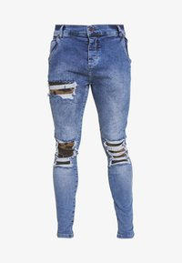 SIKSILK - BURST KNEE LOW RISE - Jeans Skinny Fit - midstone - 3