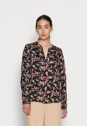 LASIA TILLY BLOUSE - Long sleeved top - black taupe grey flower