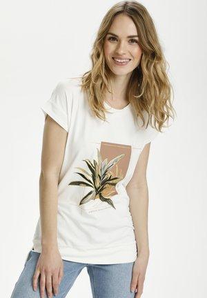 BPVIOLA - T-shirt con stampa - chalk- rosa/gold leaf print