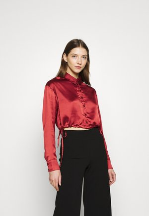 SIDE DRAW STRING CROPPED - Button-down blouse - wine