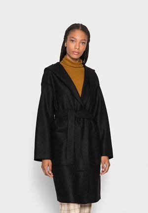 COAT BOILED HOOD PATCHED POCKETS BELT - Classic coat - black