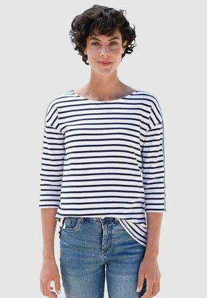 Long sleeved top - weiß/marineblau