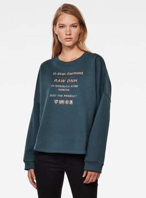 GRAPHIC TEXT RELAXED ROUND LONG SLEEVE - Sweatshirt - vintage navy