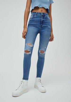 MIT HOHEM BUND UND RISSEN - Jeans Skinny Fit - mottled blue