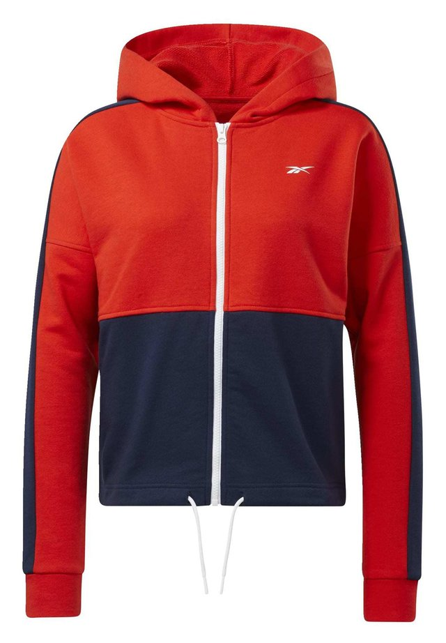 TRAINING ESSENTIALS LOGO HOODIE - veste en sweat zippée - red