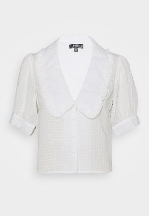 EXAGGERATED COLLAR BUTTON THROUGH BLOUSE - Button-down blouse - white