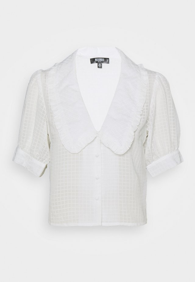 EXAGGERATED COLLAR BUTTON THROUGH BLOUSE - Button-down blouse - white