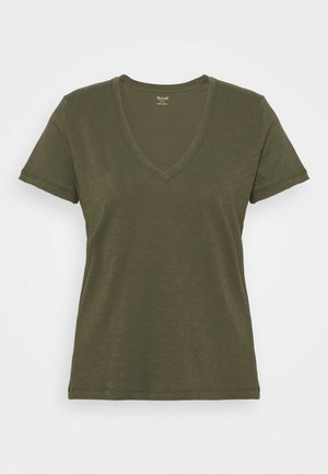 WHISPER V NECK TEE - T-shirts - foliage green