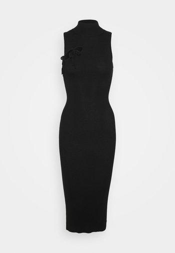 TIE FRONT HIGH NECK MIDAXI - Jumper dress - black