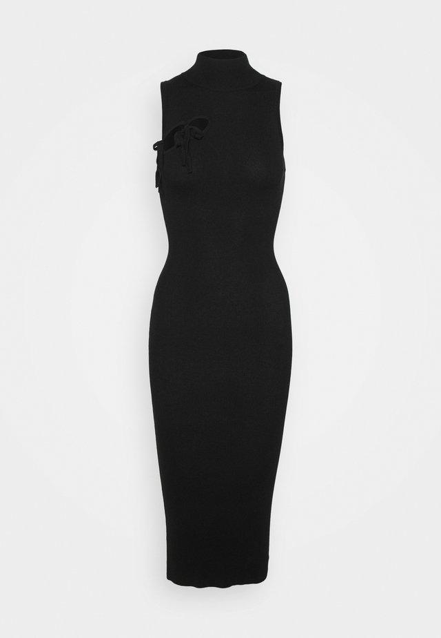 TIE FRONT HIGH NECK MIDAXI - Gebreide jurk - black