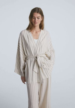 METALLIC STRIPE  - Dressing gown - beige
