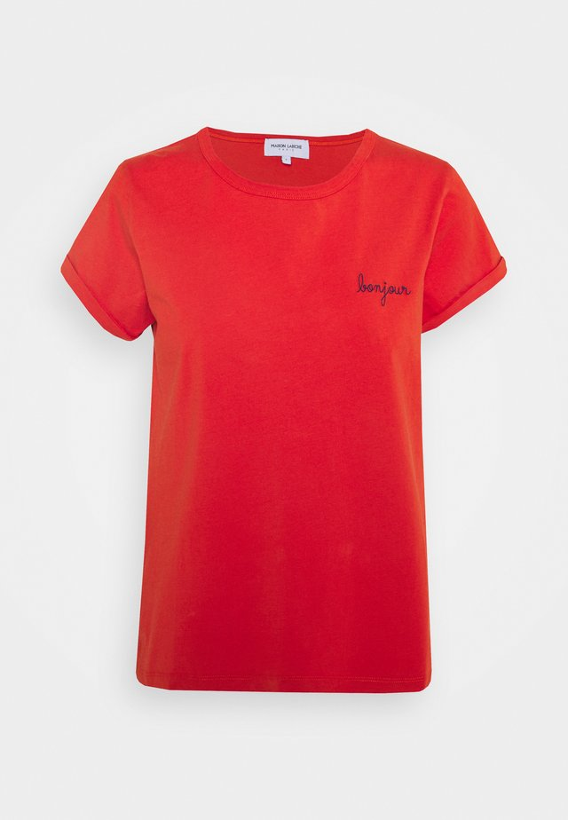 CLASSIC TEE BONJOUR - T-shirt print - poppy red