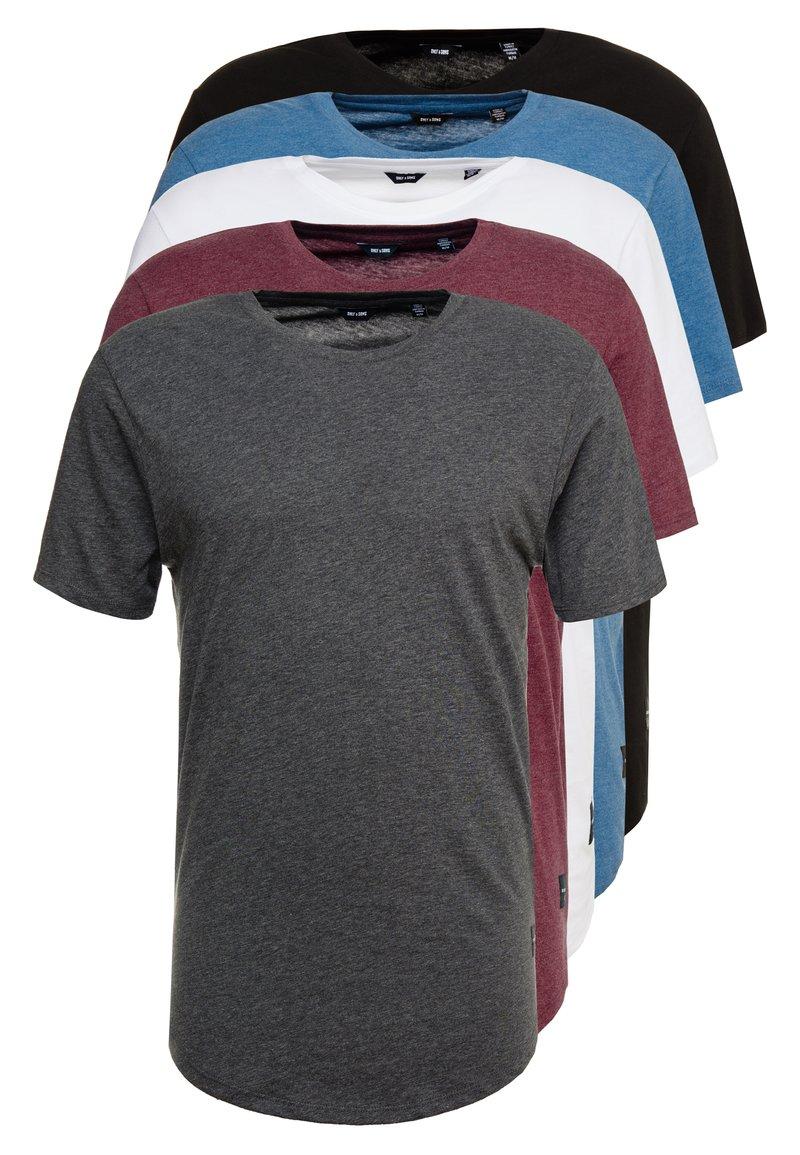 Only & Sons - ONSMATT  5-PACK - Basic T-shirt - white/dark/blue/ melange/cab
