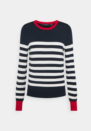 VMLACOLE STRIPE - Jumper - navy blazer/snow white/goji