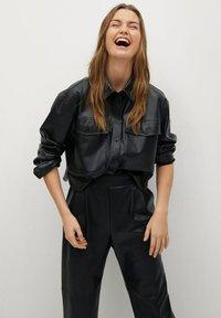 Mango - SIENA - Leather trousers - zwart - 3