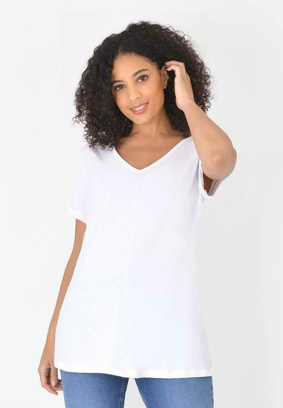 Damen WHITE LONGLINE  - T-Shirt basic