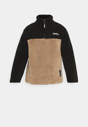 CUT & SEW ZIP THRU - Flīsa džemperis - black/beige