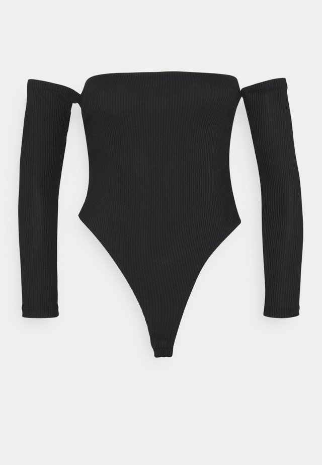 RECYLED BARDOT BODYSUIT - Long sleeved top - black