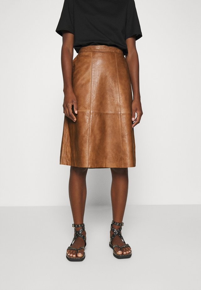 BRITT SKIRT BELOW KNEE - A-line skirt - otter
