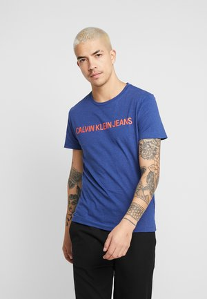 INSTITUTIONAL LOGO SLIM TEE - T-shirt con stampa - blue heather/black