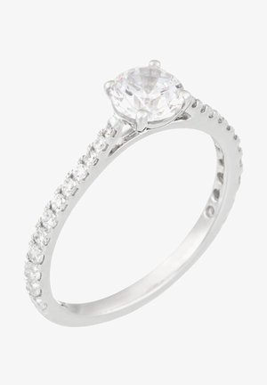 WHITE GOLD RING 18K CERTIFIED 25 DIAMONDS HSI AND 24 DIAMONDS 0.30 CT - Ring - silver